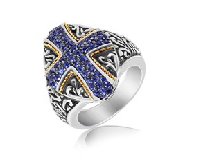 Blue Sapphire Embellished Cross Style Oval Ring in 18K Yellow Gold and Sterling Silver