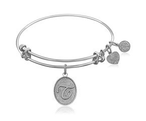 Expandable White Tone Brass Bangle with Initial T Symbol