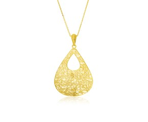 Cutout Mesh Teardrop Pendant in 14K Yellow Gold