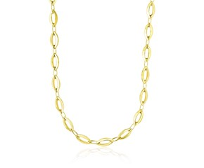 Cable Chain Style Marquis and Oval Motif Necklace in 14K Yellow Gold