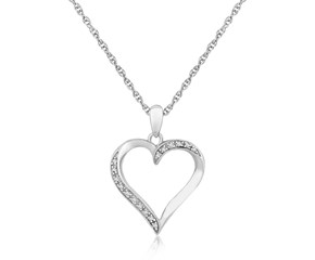 Diamond Studded Twist Open Heart Pendant in Sterling Silver (.04 ct t.w.)