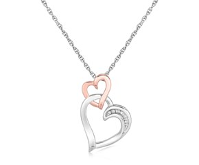 Dual Cascading Heart Diamond Embellished Pendant in Sterling Silver (.02 ct t.w.)