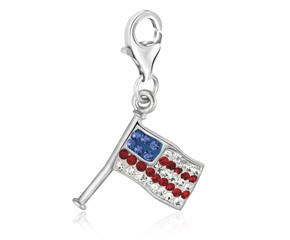 American Flag Multi Tone Crystal Encrusted Charm in Sterling Silver