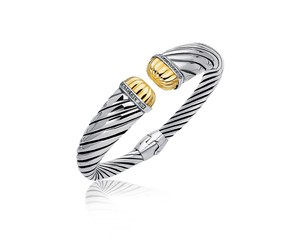 Diamond Accented Tapered Stye Cable Open Cuff in 18K Yellow Gold and Sterling Silver (.11 ct. tw.)