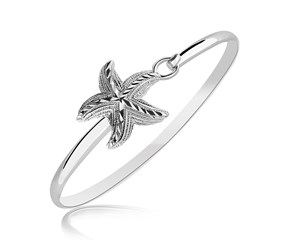 Diamond Cut Starfish Design Bangle in Rhodium Plated Sterling Silver
