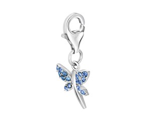 Dragon Fly Crystal Accent Charm in Sterling Silver
