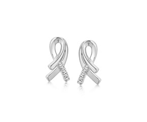 Fancy Diamond Accented Ribbon Motif Earrings in Rhodium Plated Sterling Silver (.05 ct t.w.)