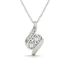 Two Stone Fancy Curve Pendant in 14K White Gold (3/4 ct. tw.)