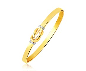 Intertwined Knot Slip On Bangle in 14K Two-Tone Gold (5.0mm)