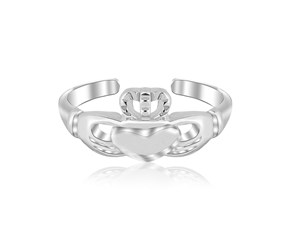 Claddagh Motif Toe Ring in Rhodium Plated Sterling Silver