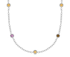 "Round Blue Topaz, Smokey Quartz, and Amethyst Flower Motif 38"" Chain Necklace in 18K Yellow Gold and Sterling Silver"