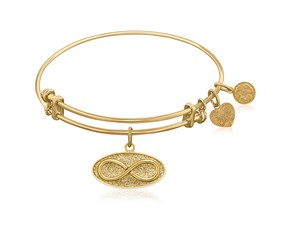 Expandable Yellow Tone Brass Bangle with Infinity Unlimited Possibilities Symbol