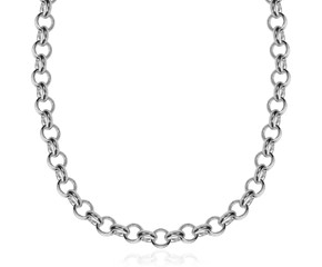 Classic Rolo Necklace in Rhodium Plated Sterling Silver