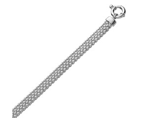 Popcorn Style Flat Chain Bracelet in Rhodium Plated Sterling Silver