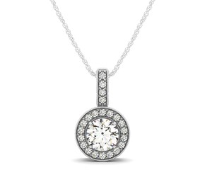 Milgrain Edge Diamond Halo Pendant in 14K White Gold (5/8 ct. tw.)