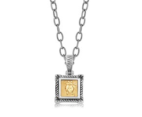 Square Relief Style Cable Inspired Pendant in 18K Yellow Gold and Sterling Silver