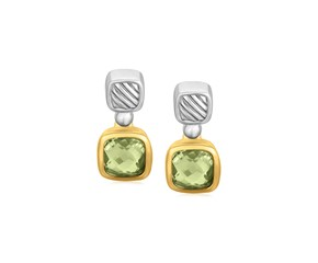 Cushion Green Amethyst Drop Earrings in 18K Yellow Gold and Sterling Silver