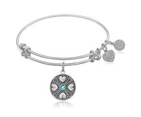 Expandable White Tone Brass Bangle with Blue Topaz December Symbol