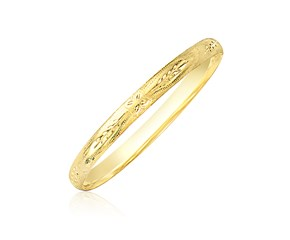 Dome Florentine Diamond Cut Bangle in 10K Yellow Gold