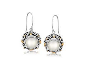 Round Pearl Accented Leaf Motif Drop Earrings in 18K Yellow Gold and Sterling Silver