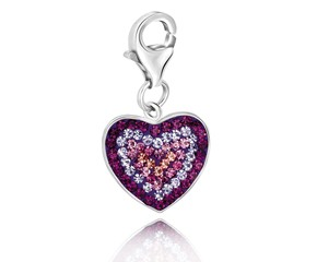 Heart Charm with Multi Tone Crystal Accents in Sterling Silver