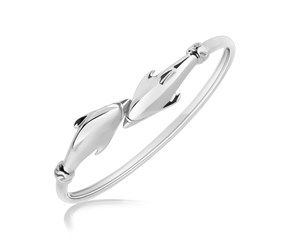 Dolphin Design Slim Bangle in Rhodium Plated Sterling Silver