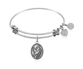 Expandable White Tone Brass Bangle with Peace Symbol