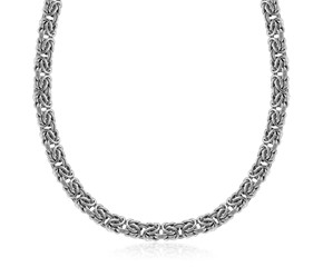 Fancy Classic Byzantine Style Chain Necklace in Rhodium Plated Sterling Silver