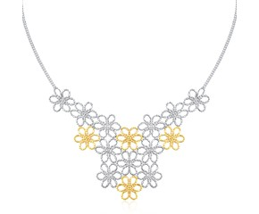 Flower Cluster Beaded Necklace in 14K Yellow Gold & Sterling Silver