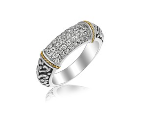 White Sapphire Studded Scrollwork Motif Ring in 18K Yellow Gold and Sterling Silver