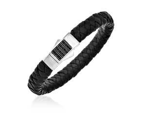Black Sapphire Accented Black Woven Leather Bracelet in Sterling Silver