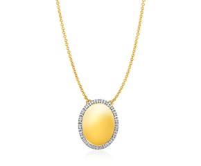 14K Yellow Gold Necklace with Oval Engraveable Diamond Pendant