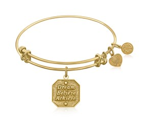 Expandable Yellow Tone Brass Bangle with Dream Believe Achieve Symbol