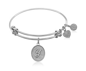 Expandable White Tone Brass Bangle with Initial Y Symbol