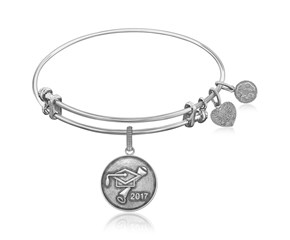 Expandable White Tone Brass Bangle with Class Of 2017 Graduation Cap Symbol