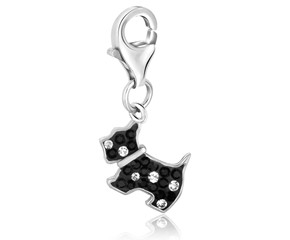 Dog Multi Tone Crystal Studded Charm in Sterling Silver