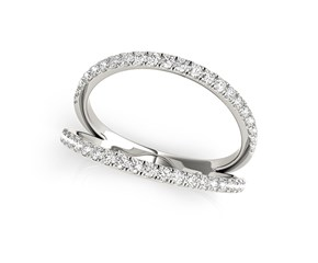 Split Band Design Diamond Embellished Ring in 14K White Gold (1/4 ct. tw.)