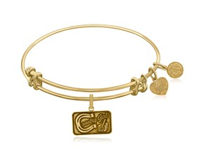 Expandable Yellow Tone Brass Bangle with Country Girl Symbol
