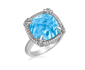 Sky Blue Topaz and White Sapphires Fleur De Lis Ring in Sterling Silver
