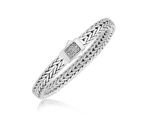 Braided Design White Sapphire Accented Men's Bracelet in Sterling Silver