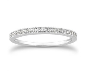 Diamond Micro- Pave Diamond Milgrain Wedding Ring Band in 14K White Gold
