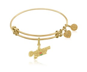 Expandable Yellow Tone Brass Bangle with A Christmas Story Symbol