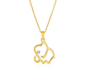 14K Yellow Gold Necklace with Gold and Diamond Open Elephant Pendant