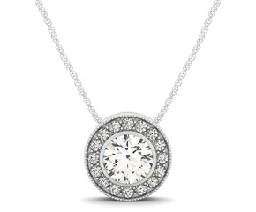 Diamond Halo with Center Bezel in 14K White Gold (5/8 ct. tw.)
