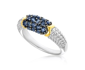 Blue Sapphire Accented Popcorn Style Ring in 18K Yellow Gold and Sterling Silver