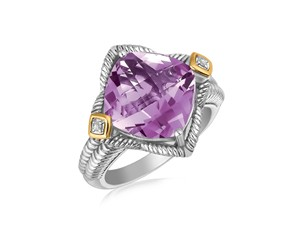 Amethyst and Diamond Accented Cushion Shape Ring in 18K Yellow Gold and Sterling Silver