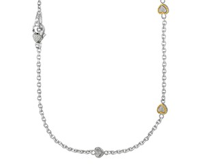 Heart Station Pave Diamond Necklace in Sterling Silver and 14K Yellow Gold