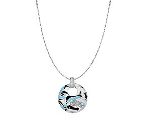Dolphin Motif Pendant with Enamel and Cubic Zirconia in Sterling Silver