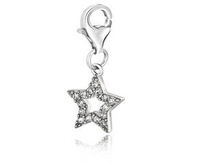 Star White Tone Crystal Encrusted Charm in Sterling Silver