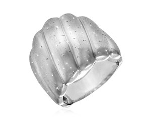 Textured Ridged Dome Ring in Sterling Silver